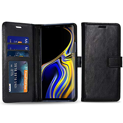 Cubevit Galaxy Note 9 Case, Premium PU Leather Wallet Case [Support Wireless Charging], [Kickstand+3 Card Slots+Magnetic Closure] Slim Flip Folio Protective Phone Cover for Samsung Galaxy Note 9 2018