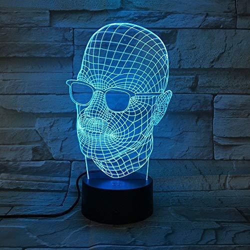 Kühle Vatertagsgeschenk 3D Licht Herrenbekleidung Schwarze Brille LED Licht Tischlampe Dekoration USB 7 Farbwechsel Lava Lampe