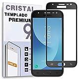 REY Protector de Pantalla Curvo para Samsung Galaxy J3 2017, Negro, Cristal Vidrio Templado Premium, 3D / 4D / 5D