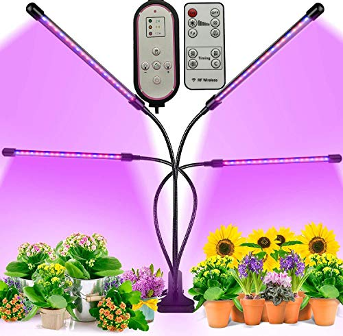 Grow Lights for Indoor Plants Full Spectrum,BIRDBELL Remote Control Grow Lights for Indoor Plants, 4 Headed Plant Light for Succulents , 80 LED Grow Lights for Indoor Plants