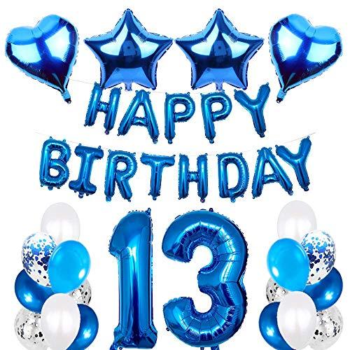 SNOWZAN 13.geburtstags deko junge Geburtstagsdeko Blau Jungen folienballon buchstaben blau geburtstag luftballon Blau Ballon Geburtstag Blau Happy Birthday Girlande Geburtstag Deko für Mädchen Jungen