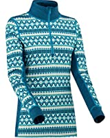 Kari Traa Women's Lune Base Layer Top - Half Zip Thermal Shirt, Ocean, X-Small