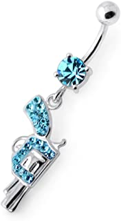 AtoZ Piercing Crystal Stone Trendy Gun Design Silver with Stainless Steel Belly Button Rings