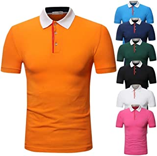 LUKEEXIN Youth Men's Short Sleeve Solid Color POLO Shirt