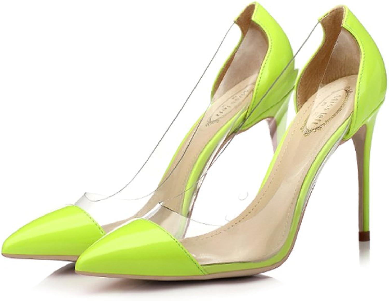 Single schuhe - female Stckelschuhe Fashion Tipps mit sexy transparenten Farbabstimmung Schuhe 8.5cm 10cm - hellgrün Brautschuhe (Farbe   Height 10cm, gre   35-schuhe long225mm)