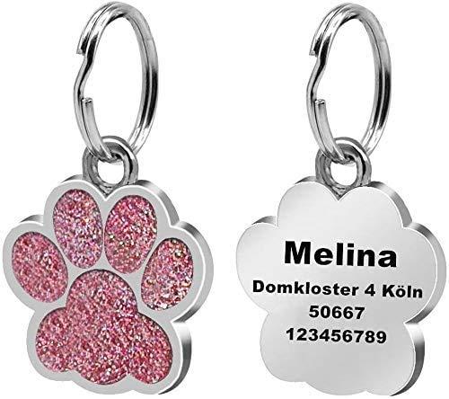 LAOKEAI Personalisierter Hundemarke mit Gravur aus Legierung, Haustier ID Tag mit Namen, Adresse und Telefonnummer Prickelnde Haustier Marke für Hunde und Katzen inkl. Schlüsselring(Rosa)