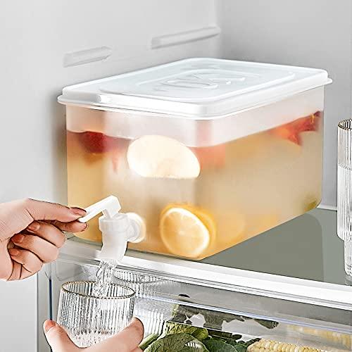 Dispensador de bebidas de 5 l con grifo portátil para nevera, hervidor de agua fría y tetera de frutas con grifo de gran capacidad recargable para hacer tés y zumos