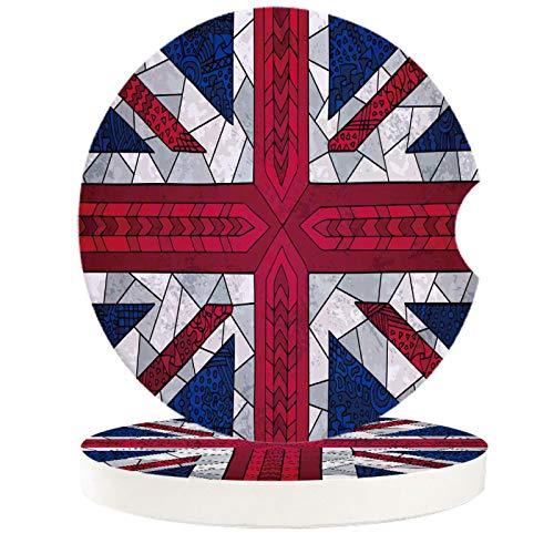 Britische Flagge Split England Auto Wasser Cup Pad Auto Autotür Trog Pad Wasser Cup Kissen Auto Interieur Wasser Mini Untersetzer