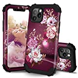 Hocase iPhone 11 Pro Max Case, Heavy Duty Shockproof Protection Hard Plastic+Silicone Rubber Bumper Hybrid Protective Phone Case with Floral Design for iPhone 11 Pro Max 6.5' 2019 - Burgundy Flowers
