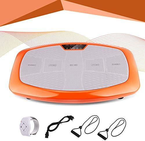 Profun Plataforma Vibratoria Fitness, Dispositivo de vibración 3D con Gran área de Entrenamiento Antideslizante y Pantalla LCD y Control Remoto y Bandas de Entrenamiento, máx.120 kg (Naranja)