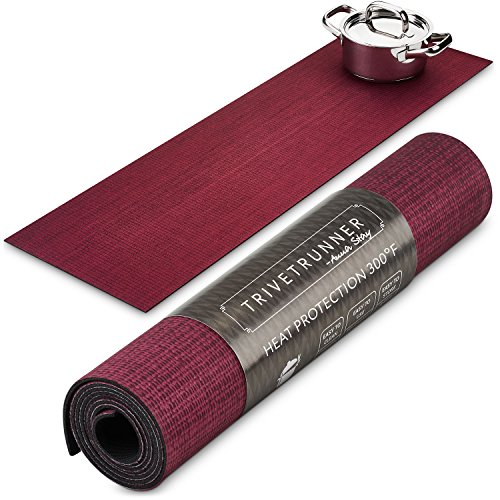 TRIVETRUNNER :Decorative Trivet and Kitchen Table Runners Handles Heat Up to 300F, Anti Slip for Hot Dishes and Pots, Protect Furniture Countertops,Dressers and Island Protector (Burgundy (Blank))