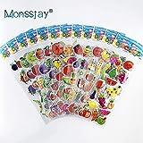 PMSMT 12 Hojas/Set Lovely Cartoon Fruit Sticker 3D Cute PVC Bubble Stickers para jardín de Infantes niños niño niña Juguete Regalo