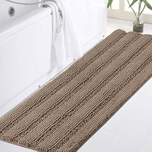 """Chenille Bathroom Runner Extra Long Bathroom Rug Shaggy Kitchen Rugs and Mats Shower Rug for Bathroom Rugs Non Slip Absorbent Bath Mat Runner for Kitchen/Living Room, 47"""" X 17"""" Taupe Brown"""
