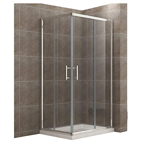 100x80cm Eckeinstieg Duschkabine mit Duschtasse Sicherheitsglas Schiebetür Eckdusche Duschabtrennung Duschschiebetür