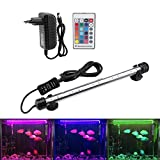 Iluminación para acuario LED Aquarium Light de colores sumergible luces resistentes al calor mando a distancia impermeable subacuática cristal barra luz para agua salada y agua dulce (MF-15U EU Plug)
