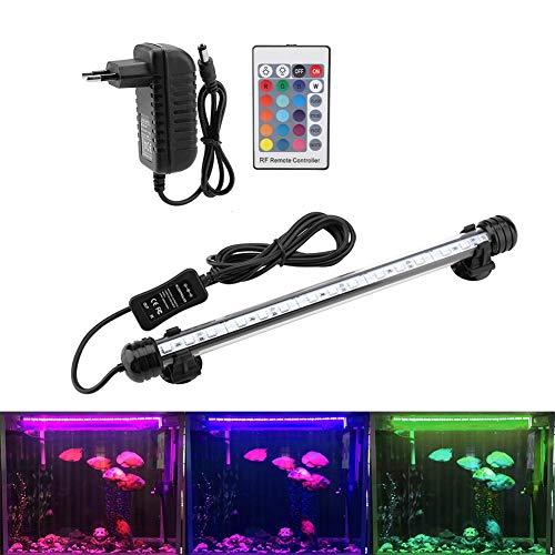 Aquarium LED-Beleuchtung für Aquarium, bunt, wasserdicht, mit Fernbedienung, für Salzwasser und Süßwasser (MF-15U EU Plug)