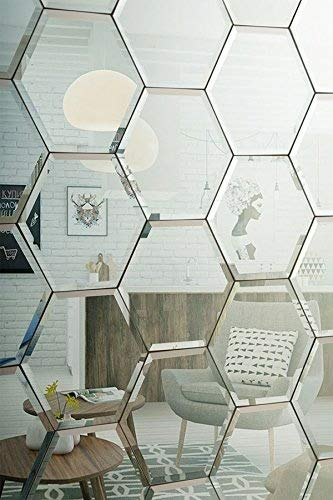 My-Furniture Piastrelle esagonali Color Argento per Muro a Specchio smussate - Ideali per la Camera da Letto, la Cucina e Il Bagno