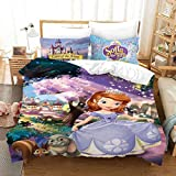 Princess Sofia The First Bedding Set for Girls Toddlers Twin Size Pink Duvet Cover Cartoon Warm Bed Quilt Cover Kids Bedroom Bed Cover Set