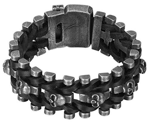 AMDXD Schmuck Herren Armband mit Schädel Kopf Totenkopf Link Panzerkette Edelstahl und Schwarz Geflochten Leder Armbänder Länge 24CM