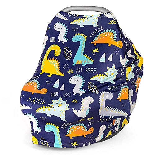 Multi Use Nursing Breastfeeding Cover Scarf - Car Seat Canopy - Shopping Cart - High Chair - Stroller and Carseat Covers for Boys and Girls-Infinity Stretchy Shawl - Baby Shower-Dinosaurs
