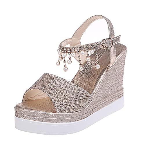 Sandalias de tacón de cuña para mujer Zapatos abiertos Sandalias de plataforma de verano con cremallera Zapatos de playa cómodos con punta abierta para mujer Zapatos de soporte de arco plano info
