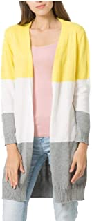 Womens Long Sleeve Casual Striped Cardigan Color Block Knit Open Front Outwear Sweater Coats
