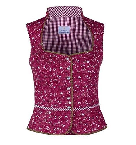 Ramona Lippert® - Damen Dirndl Bluse Marion 46 Rot Geblümt mit Schneewittchenkragen - Trachtenbluse - Blusen für Trachten z.B. zum Oktoberfest…