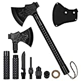 Camping Axe, SUPCAMP Portable Survival Axe Multi-Tool Hatchet Folding Camping Axe with Sheath, Sharpener, Tactical Tomahawk Hammer Survival Gear Kit for Hunting, Hiking and Emergency (Black)