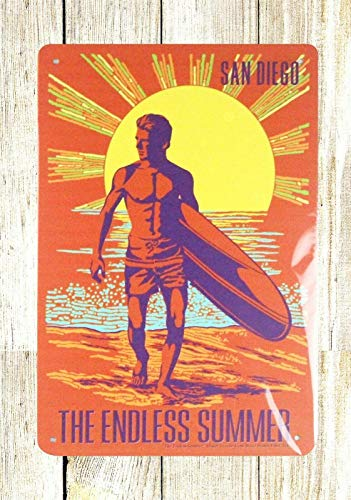 Inga San Diego Beach Surfing Endless Summer - Placa de metal para exteriores (20 x 30 cm)