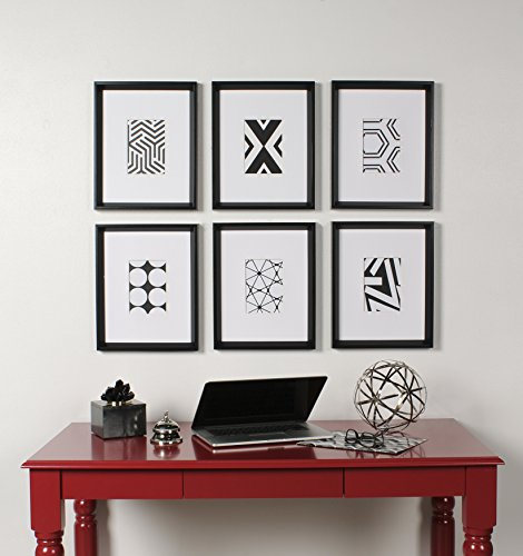 Kate and Laurel Calter 6 Framed Modern Black and White Geometric Abstract Art Prints,