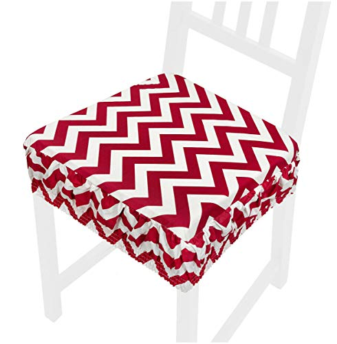 emmevi Cojín de silla moderno desenfundable lavable funda Zig Zag banda elástica AZALEA11L rojo