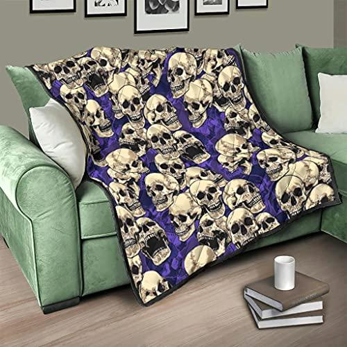 Flowerhome Colcha con diseño de calavera, para el sofá, para todo el año, para adultos y niños, color blanco, 100 x 150 cm