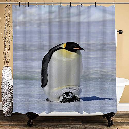 huagu Cortina de Baño,Impermeable,Pingüino Emperador con Bebé Nieve Antártida Polo Norte Fauna Silvestre Naturaleza Fauna para baño,bañera, 150cmx180cm