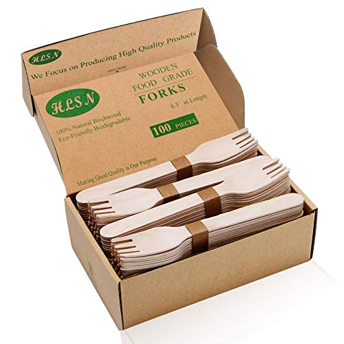 HLSN- Packaging Box Disposable Wooden Forks 6.3Inches 100 Pieces Natural Birch Biodegradable Food Grade Certification.