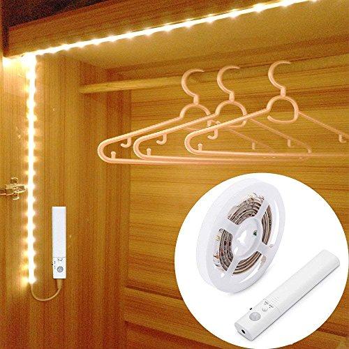 LUXJET® 45LED 150cm tira luz cuerda,Luz Armario Luz LED Nocturna con Sensor de Movimiento para Pasillo Baño Armario Cocina(funciona con 4 pilas AAA, No Incluidas)