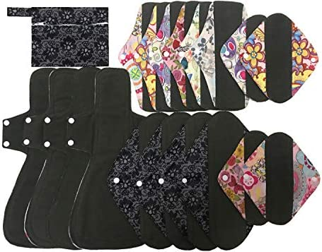 MUMBABY 19pcs Set 1pc Mini Wet Bag 4 8inch 6 10inch 4 12inch 4 16inch Charcoal Bamboo Mama Cloth product image