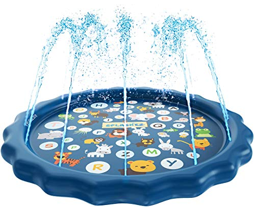 SplashEZ 3-in-1 Sprinkler for Kids, Splash Pad, and Wading Pool for Learning – Children's...