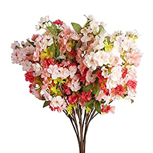 LESHABAYER Artificial Cherry Blossom Branches Flowers,6pcs 31″ Silk Peach Blossom Sakura Arrangement for Wedding Home Garden Pavilion Decoration