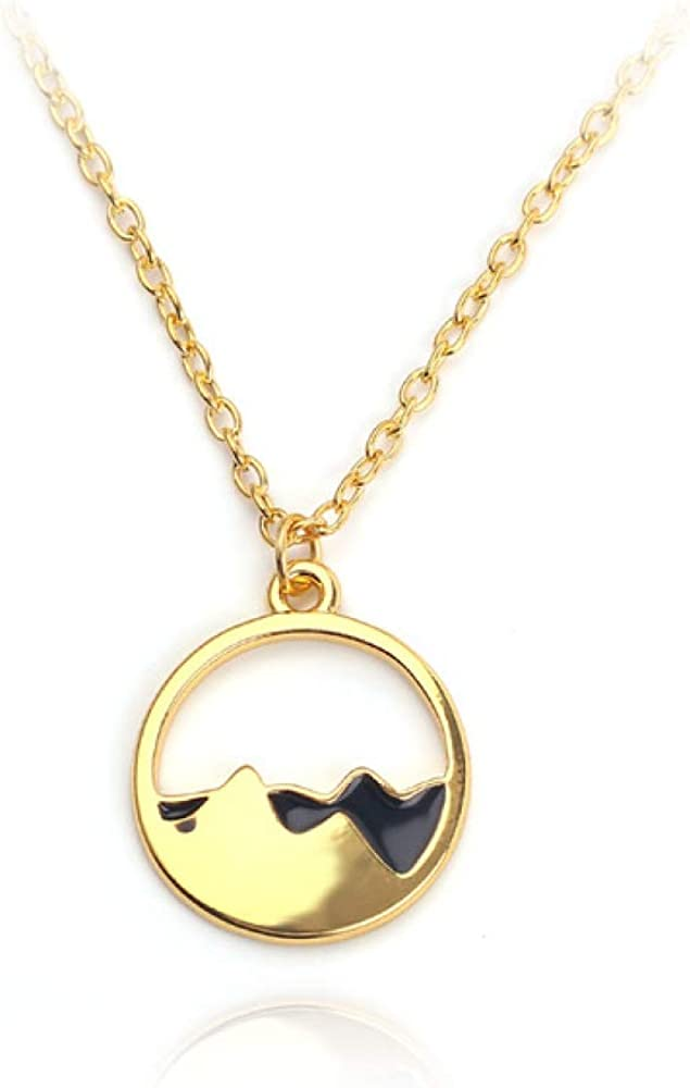 Naswi Outdoor Snow Mountain Range Pendant Necklace Delicacy Clavicle Necklace Charm Gift for Women Collar Jewelry Cute Accessories