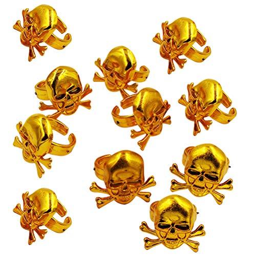 Amosfun Pirate Skull Rings Halloween Anillos para niños Juguetes Fiesta de Halloween Kids Props de Rendimiento (Dorado) 12 Piezas