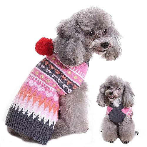Pet Artiest Kerst Puppy Sweater Jumpers voor Kleine Honden Katten, Leuke Xmas Chihuahua Kleding Knitwear Hoodie voor Yorkie Poedel Pug Franse Bulldog,Pink—5 Maten, Chest:42cm,Back length:34cm, roze