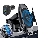Homder Automatic Clamping Wireless Car Charger Mount,10W/7.5W Qi Fast Car Charging,Dashboard Air Vent Phone Holder with QC 3.0 Fast Charger,Compatible with Samsung S10/S9/Note 9,iPhone8/Max/X/XR