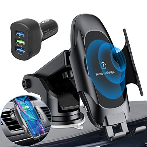 Homder Automatic Clamping Wireless Car Charger Mount,10W/7.5W Qi Fast Car Charging,Dashboard Air...