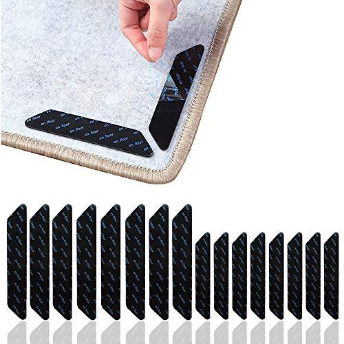 SATOHA Packung mit 16 rutschfesten und wiederverwendbaren Teppichgreifern für Holz- und Hartböden, waschbaren Teppichpolstern oder Teppichaufklebern für alle Arten und Größen von Teppichen