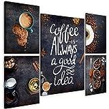 decomonkey Bilder Küche Kaffee 110x80 cm 5 Teilig
