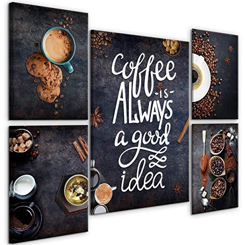 decomonkey Bilder Küche Kaffee 110x80 cm 5 Teilig Leinwandbilder Bild auf Leinwand Vlies Wandbild Kunstdruck Wanddeko Wand Wohnzimmer Wanddekoration Deko Spruch