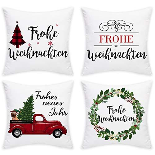 Elloevn Weihnachten 4er Set Kissenbezüge, Weiche Weiße Weihnachtsbaum Kissenhülle, Neues Jahr Deko Kissen ohne Kissenfüllung für Sofa, Couch, Wohnzimmer Auto, 45 * 45 cm