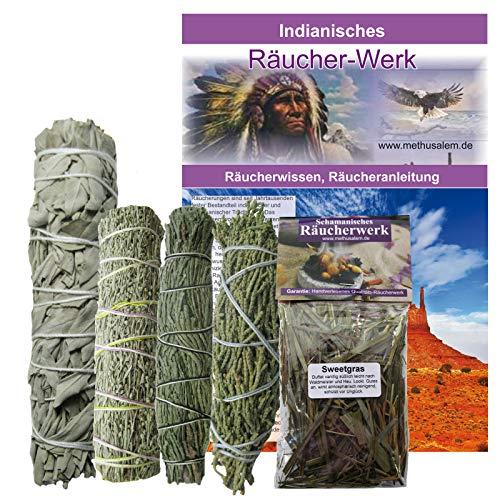 Indianisches Räucherset 6-teilig Sage Präriebeifuß Zedernspitzen Wacholderspitzen Smudge Sticks + Sweetgrass 60ml + Booklet INDIANISCHES RÄUCHERWISSEN. 81014