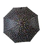 Goodforgoods Paraguas Que Cambia de Color con la Lluvia, para Adultos, Mujeres, Hombres, de Apertura automática, Resistente al Viento con un diámetro de 105 cm. (Negro2)
