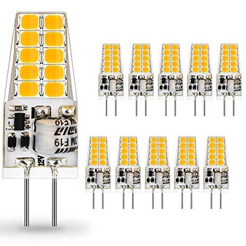 AUTING LED G4 Lampen,3.5W G4 LED Birnen 3000K Warmweiß 400lm, Ersatz für 30W Halogenlampen,Kein Flackern Nicht Dimmbar 360° Lichtwinkel,12V AC/DC,10er Pack